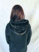 black on black fur sweatshirt