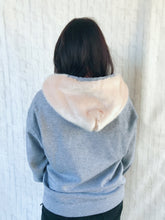 pink on grey fur sweatshirt
