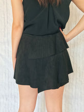 suede black mini skirt
