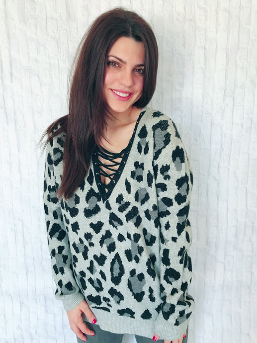 cheetahlicious cross front sweater