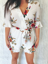 white floral ruffle romper