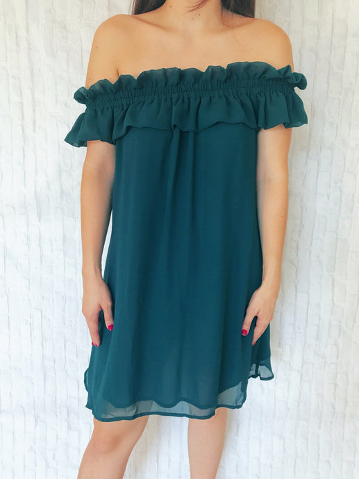 breezy teal off the shoulder dress