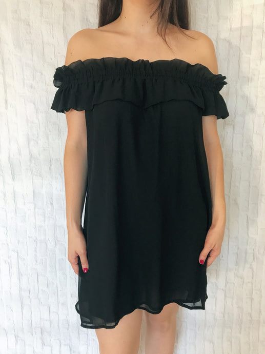 breezy black off the shoulder dress