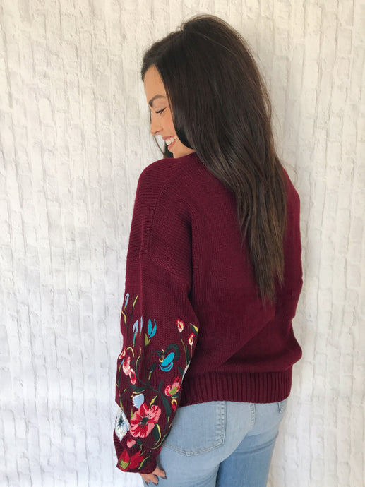 burgundy embroidered sweater