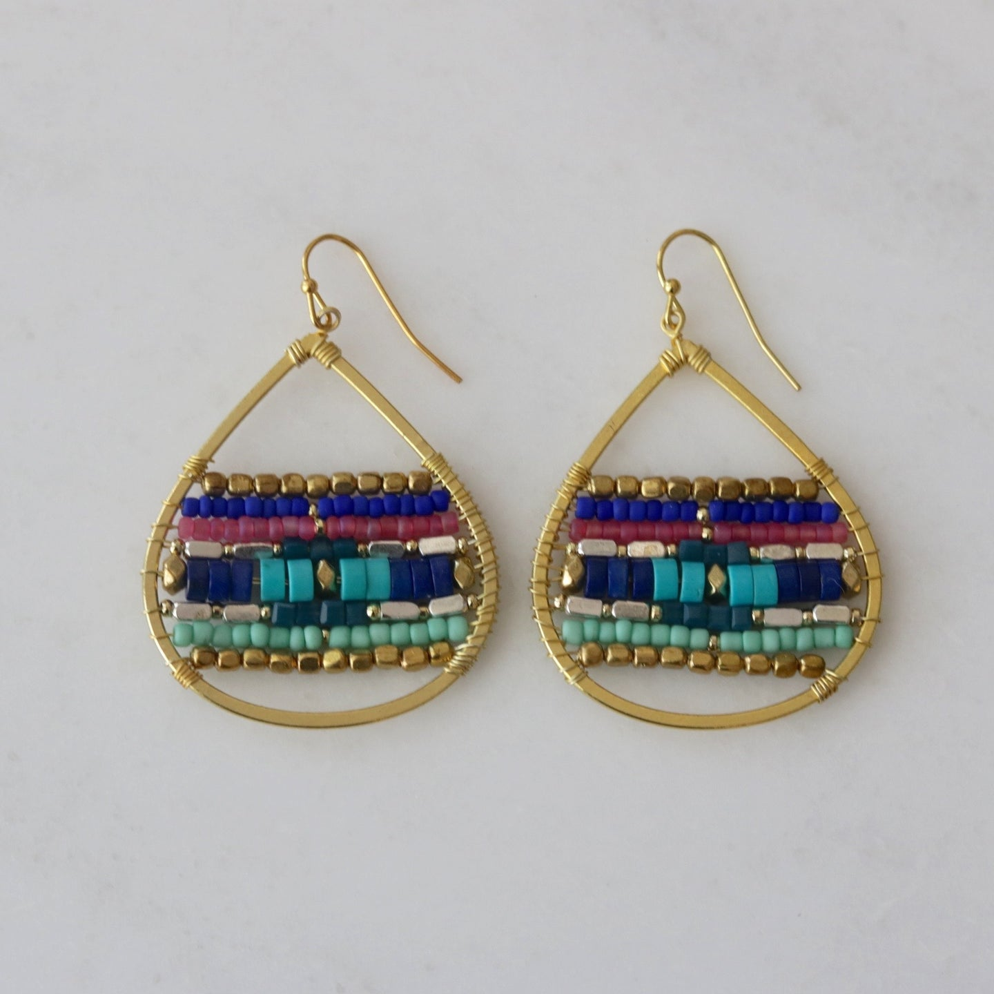 multi-color teardrop earrings