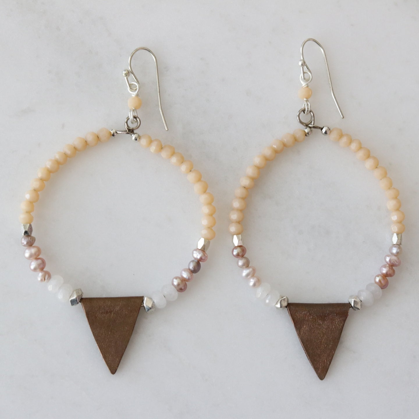 beaded arrow drop earrings