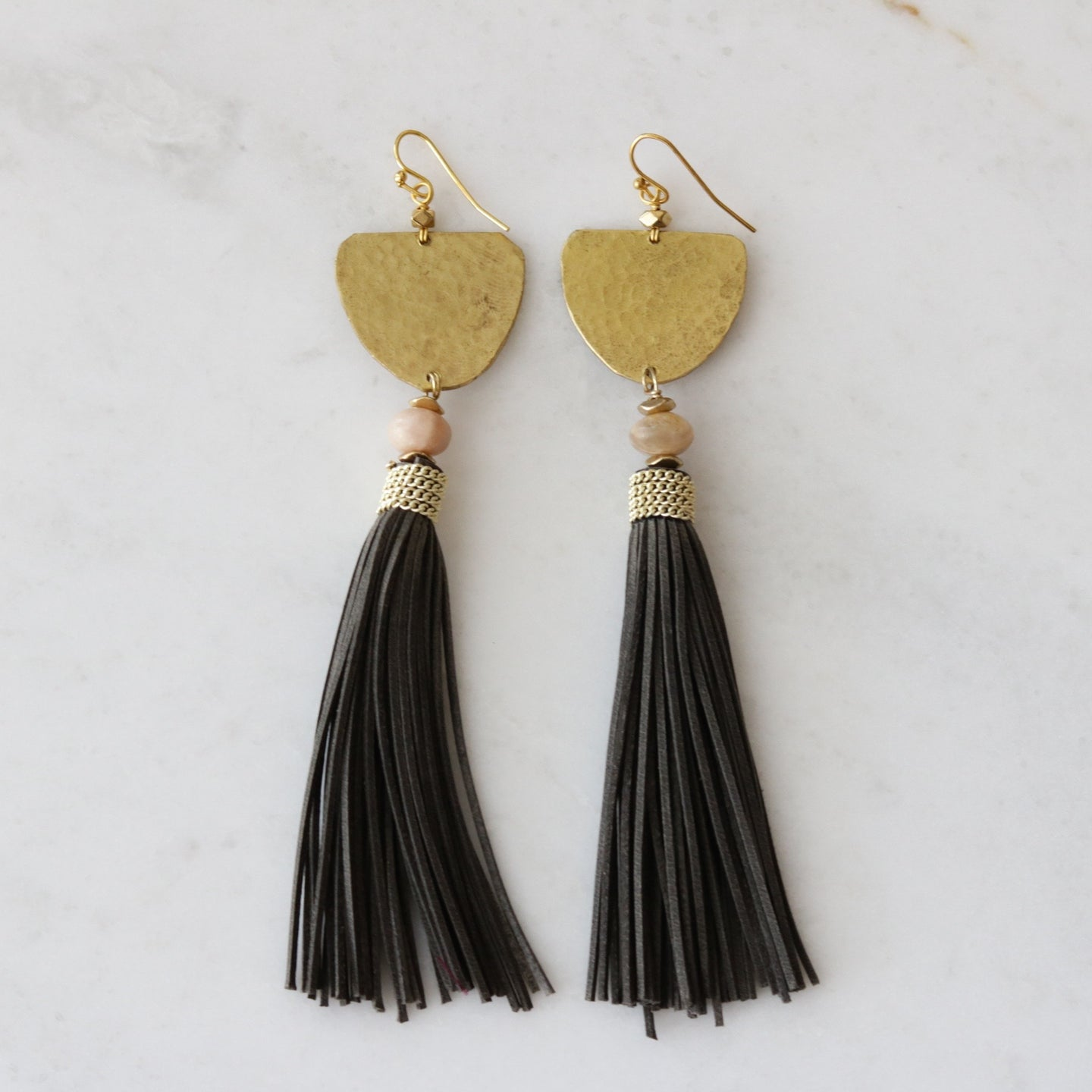 grey suede tassel earrings