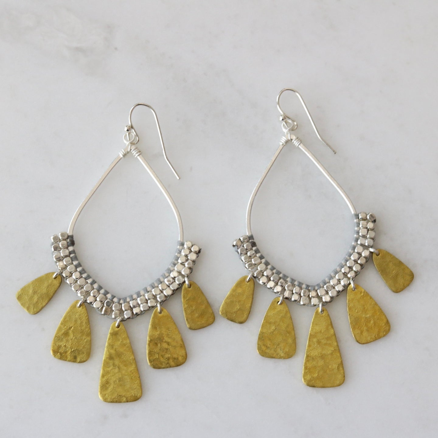 boho beaded teardrop earrings
