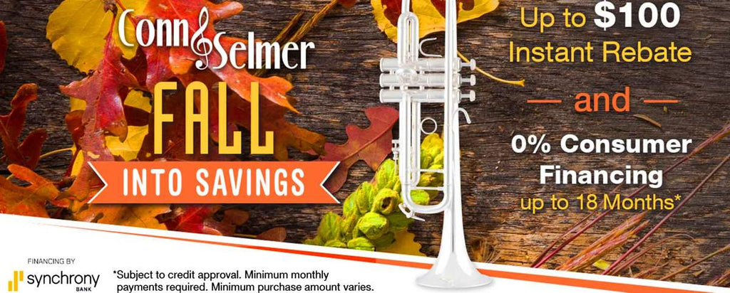 Conn Selmer Fall Into Savings Instant Rebates $50 or $100 | Andy's Music