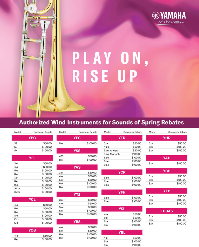 Step Up to Yamaha 2021 Sounds of Spring Rebate Deals