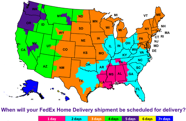 Andy's Music FedEx Delivery Shipping Map