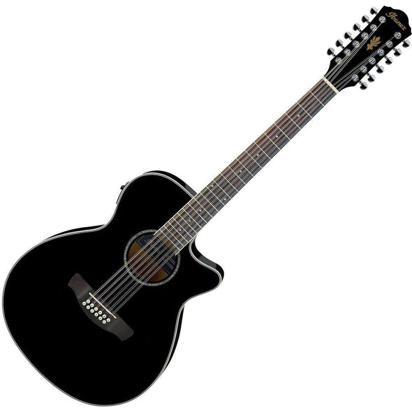 Ibanez AEG1812IIBK 12-String Acoustic Electric Guitar With Deluxe Bag & Accessories - Andy's Music