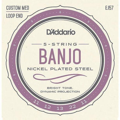 D'Addario EJ57 5-String Banjo Nickel Strings Custom Medium 11-22 - Andy's Music