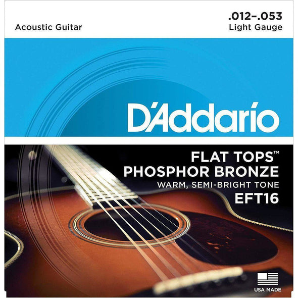 D'Addario EFT16 Phosphor Bronze Flat Tops, Light, 12-53 - Andy's Music