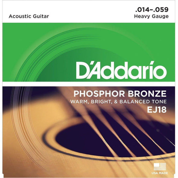 D'Addario EJ18 Phosphor Bronze Acoustic Guitar Strings, Heavy, 14-59 - Andy's Music