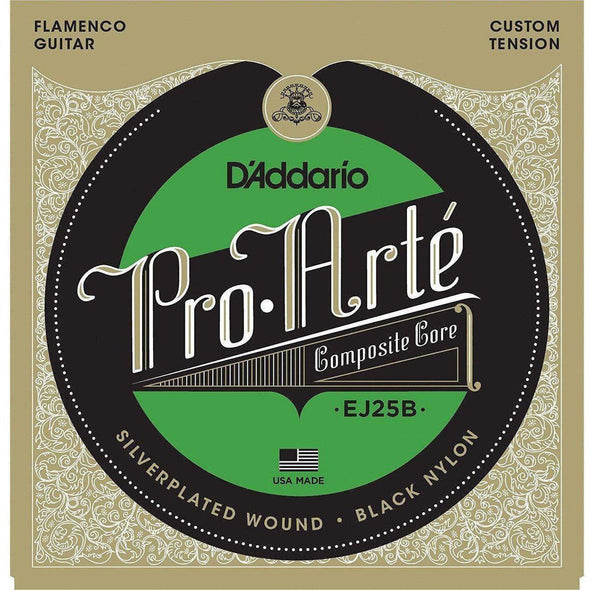 D'Addario EJ25B Pro-Arté Black Nylon Composite, Flamenco - Andy's Music