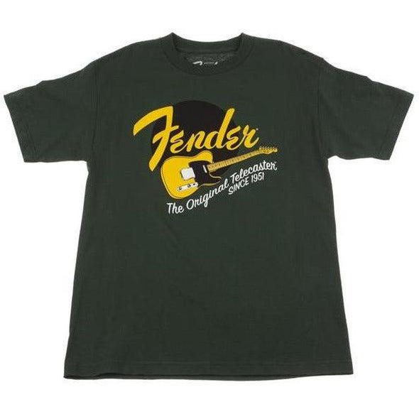 Fender The Original Telecaster Since 1951 Green T-Shirt with Yellow Logo