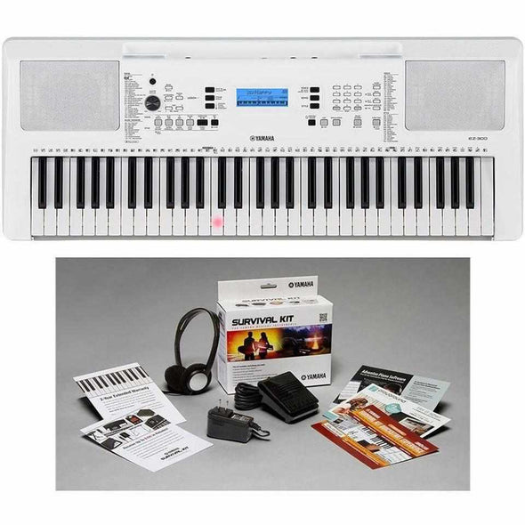 Yamaha EZ-300 61-Key Lighted Key Portable Keyboard With Survival Kit at Andy's Music