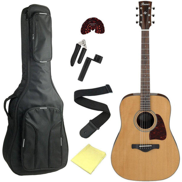Ibanez AVD9NT Artwood Vintage Acoustic Guitar Bundle With Deluxe Bag & Accessories