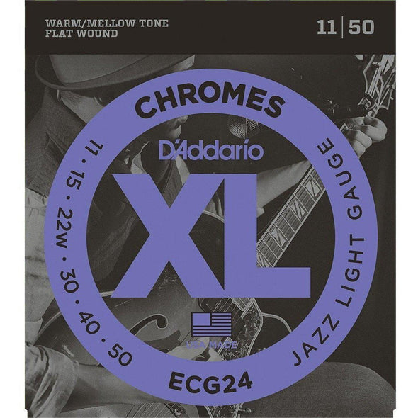 D'Addario ECG24 Chromes Flat Wound, Jazz Light, 11-50-Andy's Music
