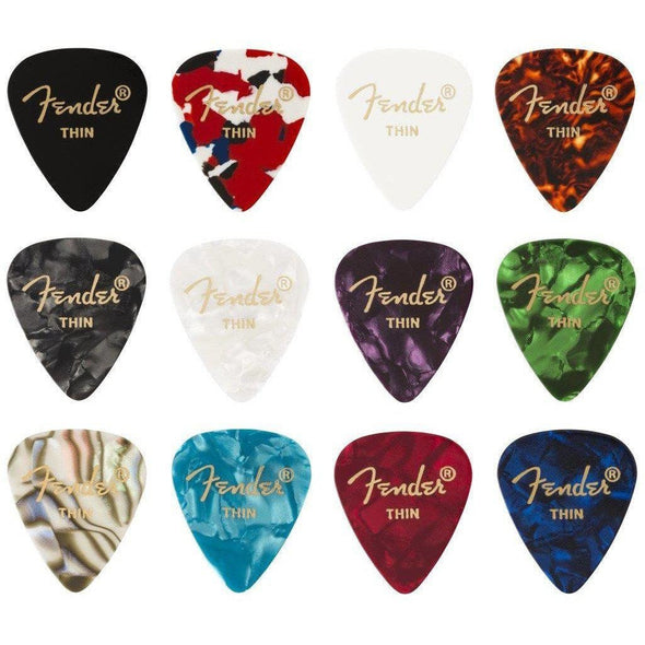 Fender 351 Celluloid Medley 12 Picks-Thin-Andy's Music