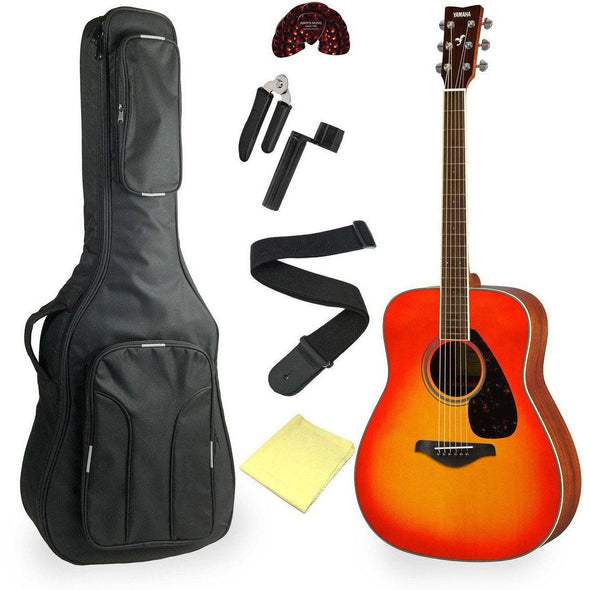 Yamaha FG820 Acoustic Guitar Bundle Autumn Burst Finish