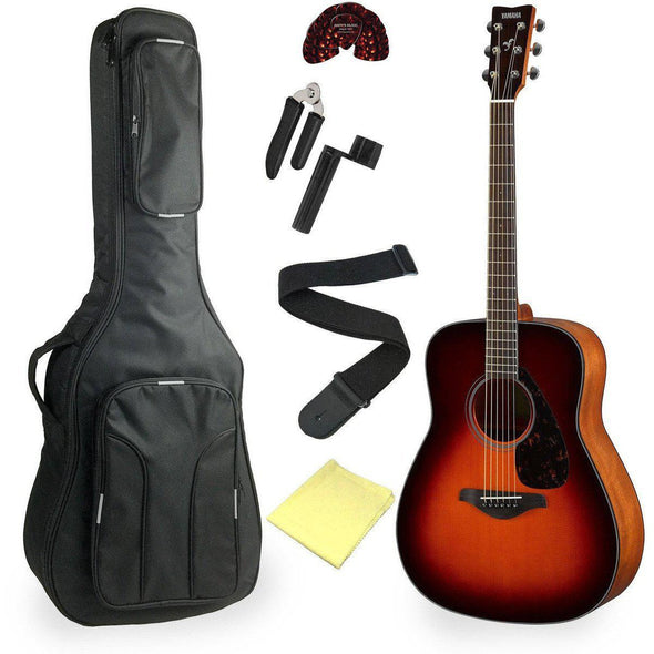 Yamaha FG820 Acoustic Guitar Bundle Brown Sunburst Finish