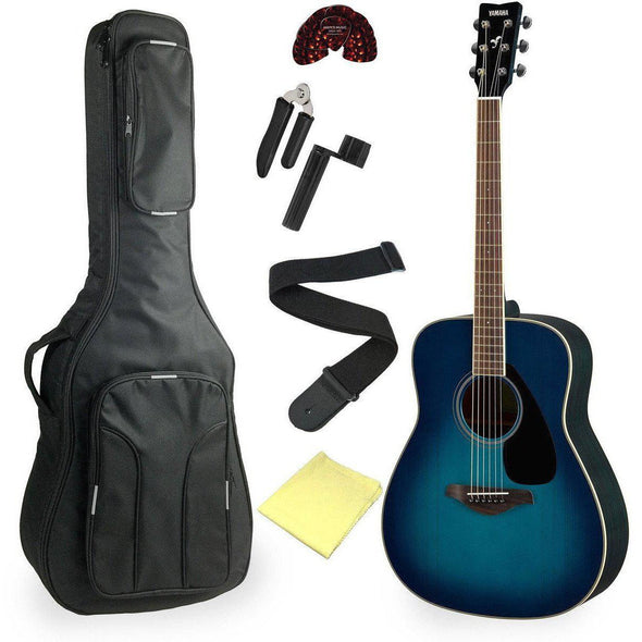 Yamaha FG820 Acoustic Guitar Bundle Sunset Blue Finish