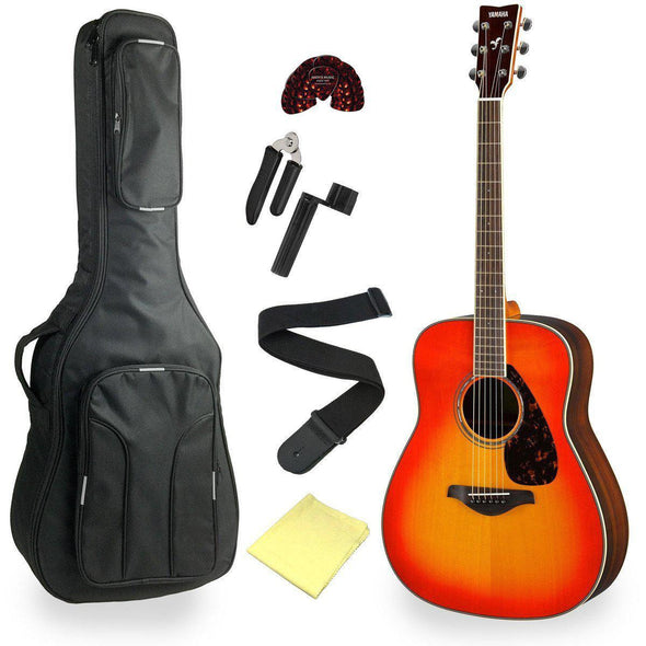 Yamaha FG830 Solid Top Acoustic Guitar With Deluxe Bag & Accessories