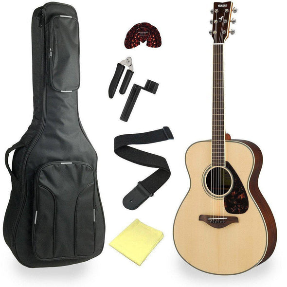 Yamaha FS830 Solid Top Concert Acoustic Guitar With Deluxe Bag & Accessories-Natural-Andy's Music