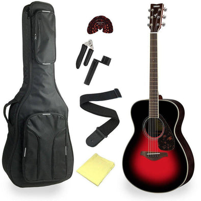 Yamaha FS830DSR Solid Top Concert Acoustic Guitar With Deluxe Bag & Accessories
