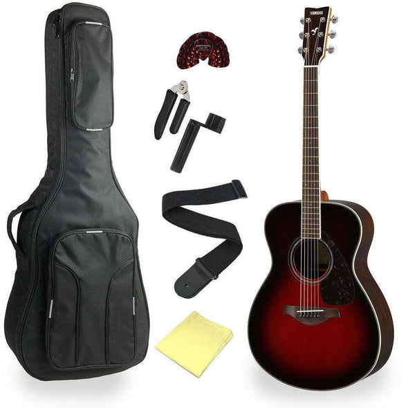 Yamaha FS830TBS Concert Acoustic Guitar With Deluxe Bag & Accessories