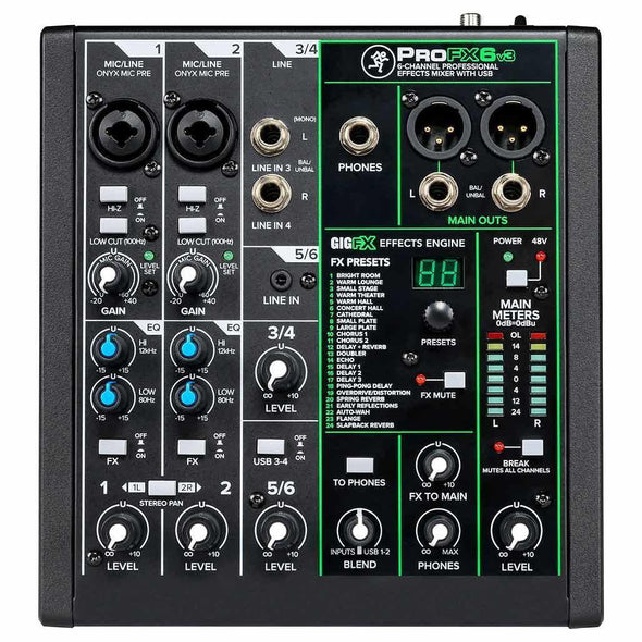Mackie ProFX6v3 6-Channel Effects Mixer With USB-Andy's Music