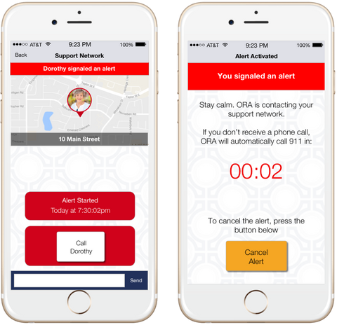 The ORA app sends notifications to loved ones and 911. ORA is the only app based panic button that uses your smartphone to call 911.