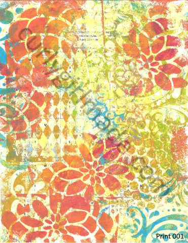 Boho Background 001 - Journal page, mixed media, instant download