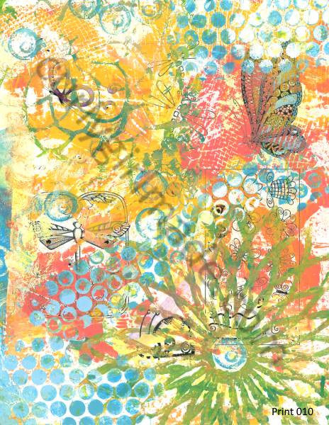 Boho Background 010 - Journal page, mixed media, instant download