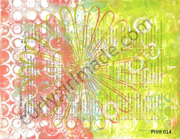 Boho Background 014 - Journal page, mixed media, instant download
