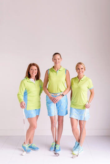 Twisted Tees in shorts and Skorts with Lime and Aqua polo shirts and quarter zips