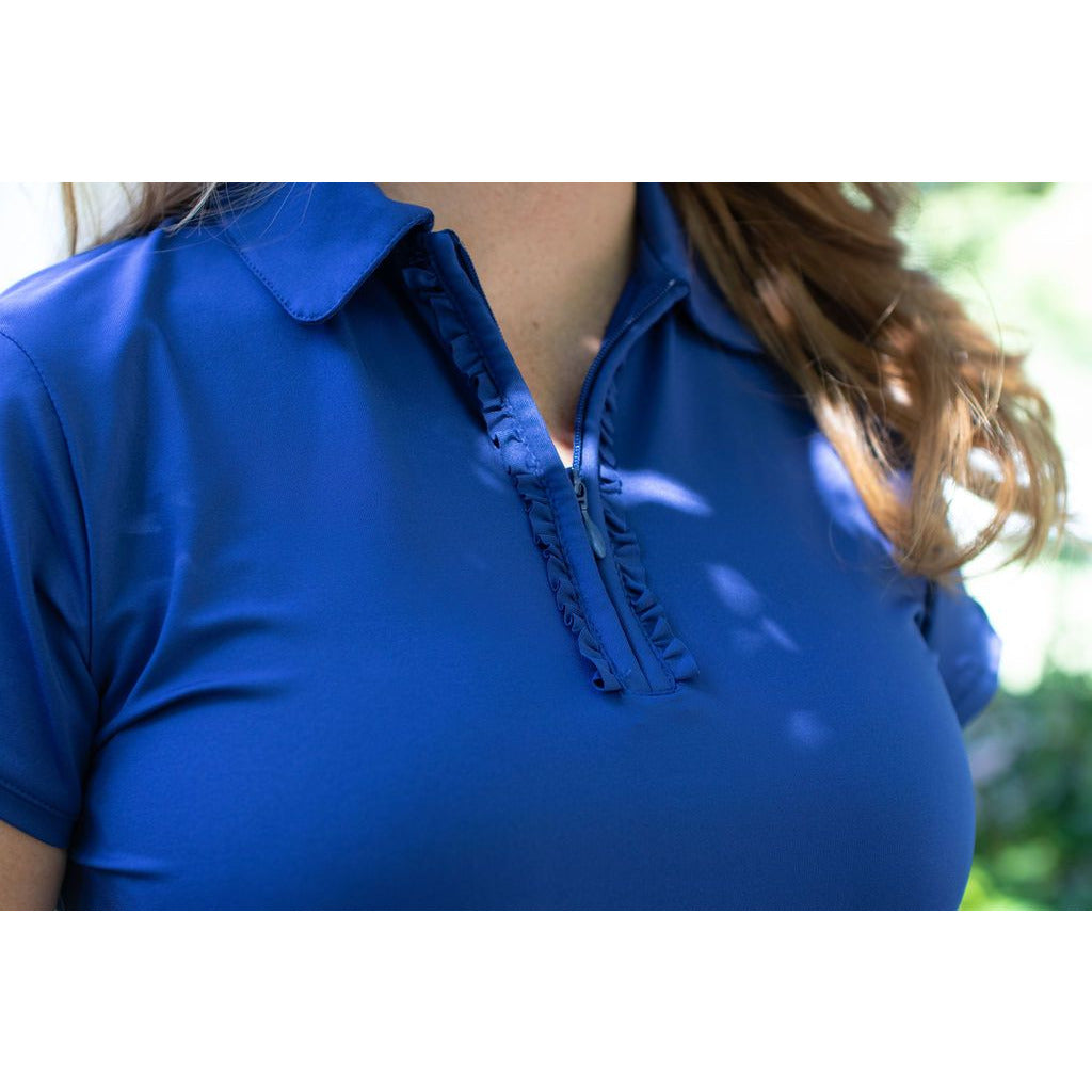 Half Zip Hitter- Cap Sleeve Polo-Navy
