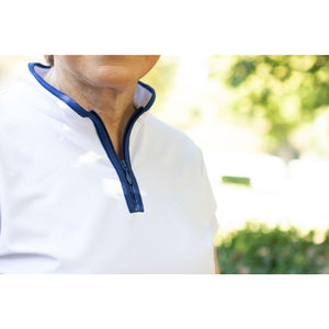 Lob Shot Layer Sleeve Polo-White/Navy
