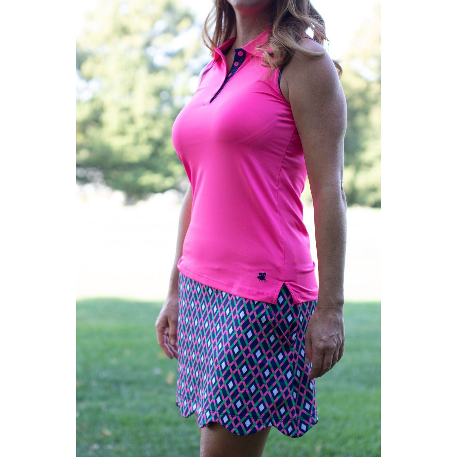 Eagle Putt Polo- Hot Pink w/Navy