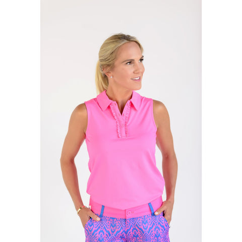 Pin High Sleeveless Polo Hot Pink Front View