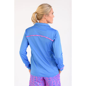 Even Par Quarter Zip Medium Blue with Pink Trim Back View