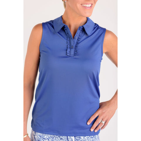 Pin High Sleeveless Polo Navy Front View