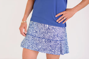 "Pleated Par Skort 16"" or 18"" Skort Leopard Links Pull On Skort with built in underpants and silicone grippers"