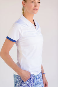 On Par Short Sleeve Polo White With Navy Trim Front View