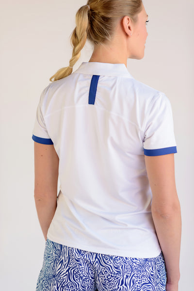 On Par Short Sleeve Polo White With Navy Trim Back View