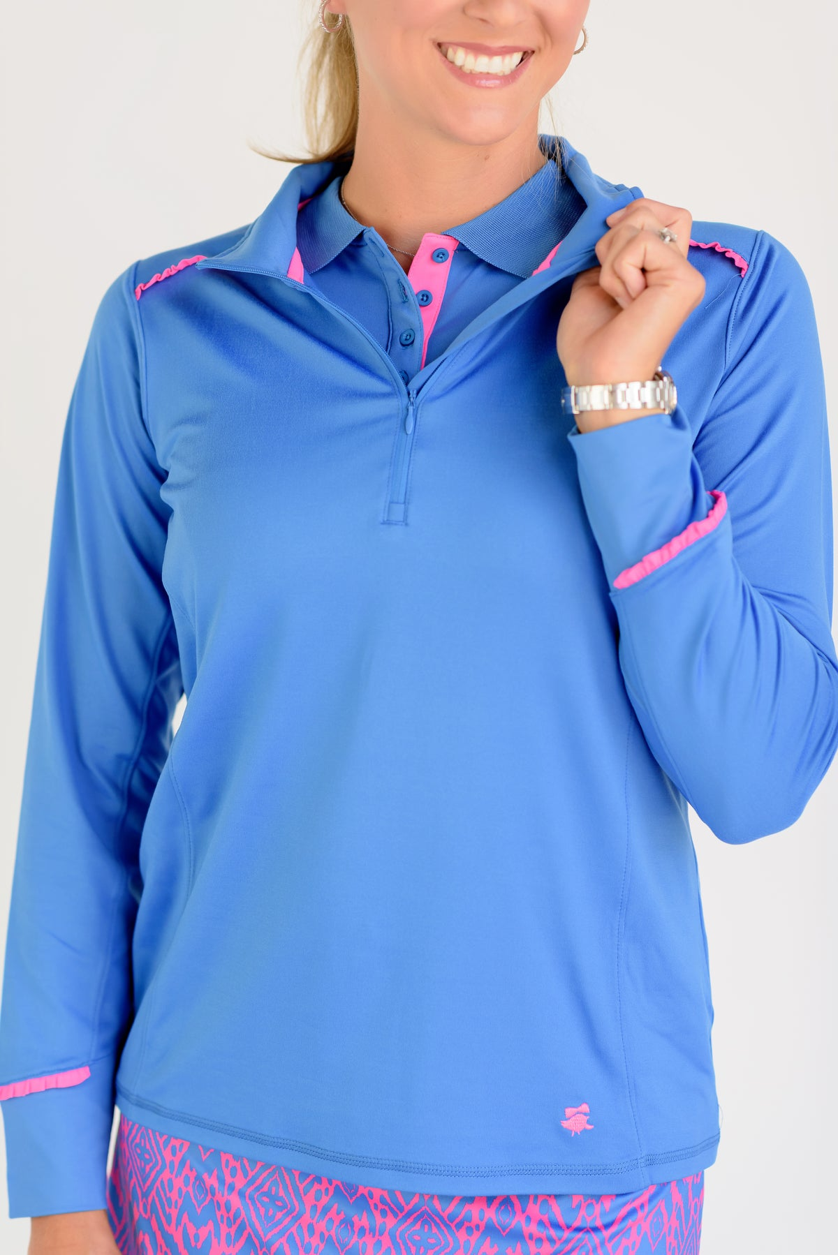 Even Par Quarter Zip Medium Blue with Pink Trim Front View