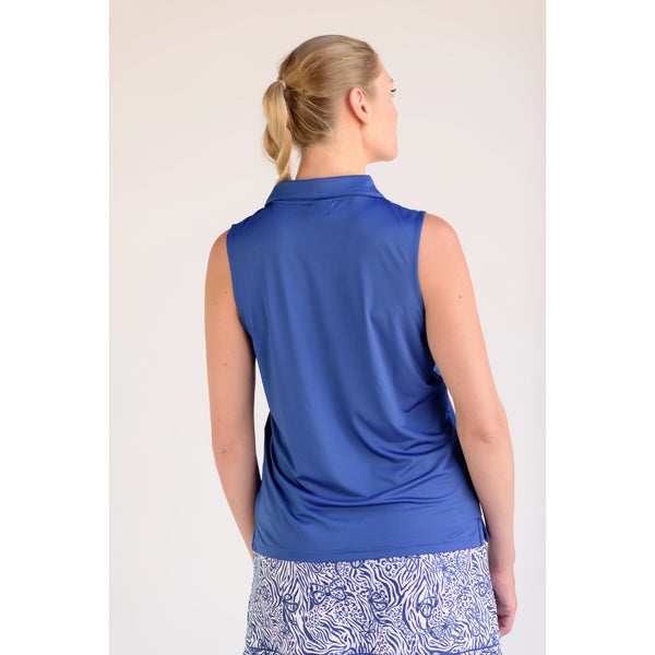 Pin High Sleeveless Polo Navy Back View