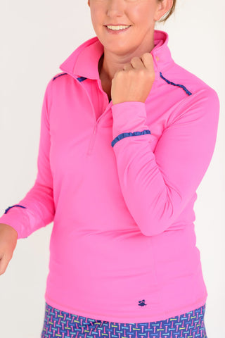 Even Par Quarter Zip Hot Pink with Navy Trim Front View